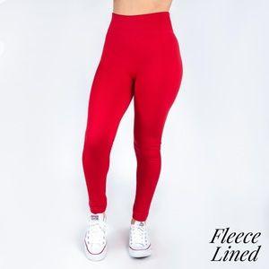 Womens Red OS Fleece Legging